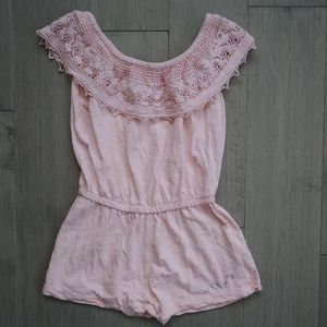 DKNY Pale Pink Romper with crocheted Lace Bandeau